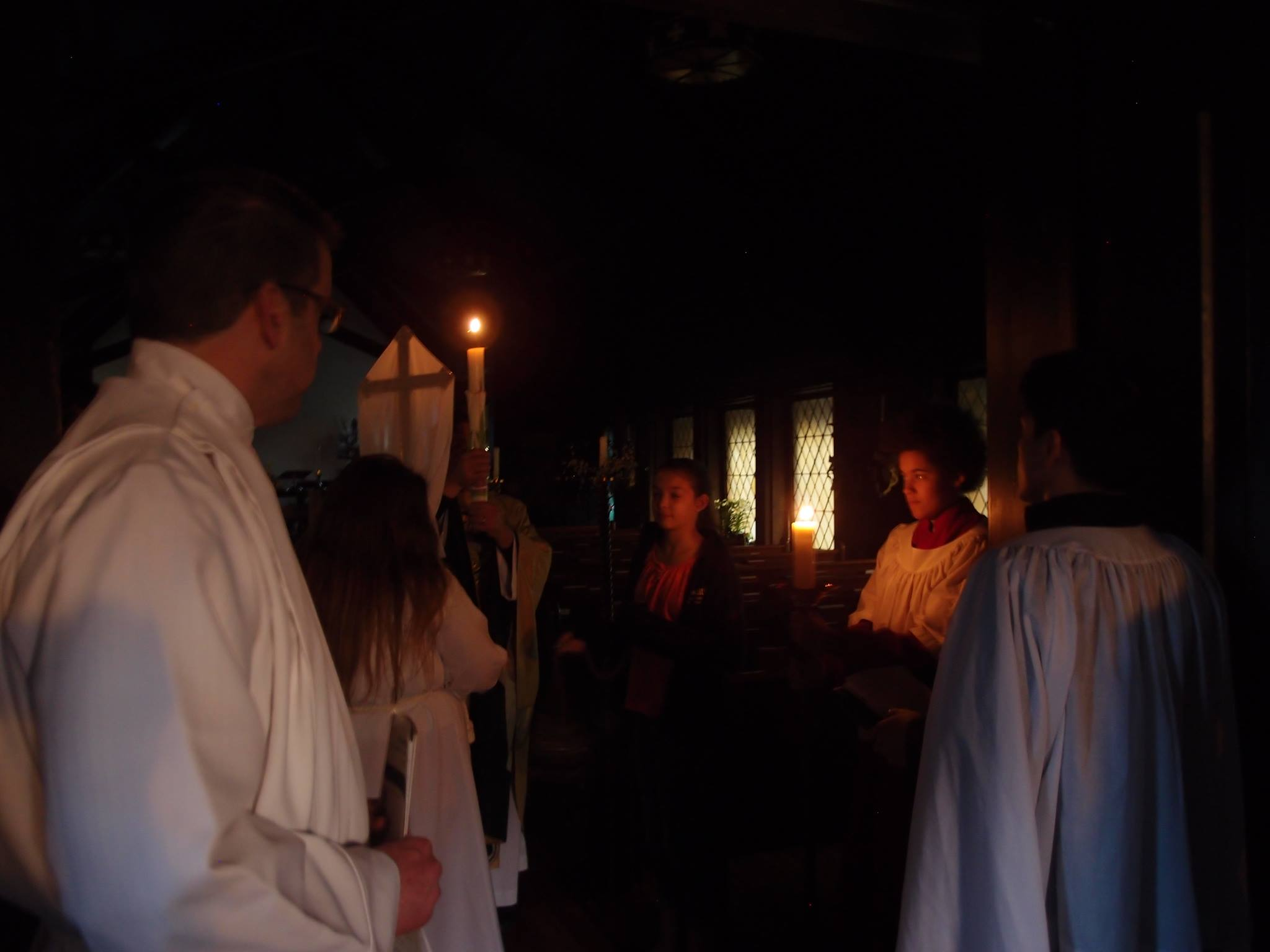 Service in darkened church