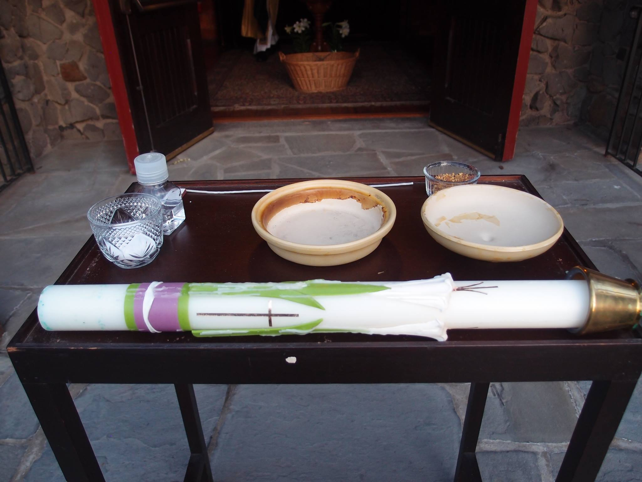 "Large paschal candle and materials for the ""New Fire"" of the Easter Vigil"