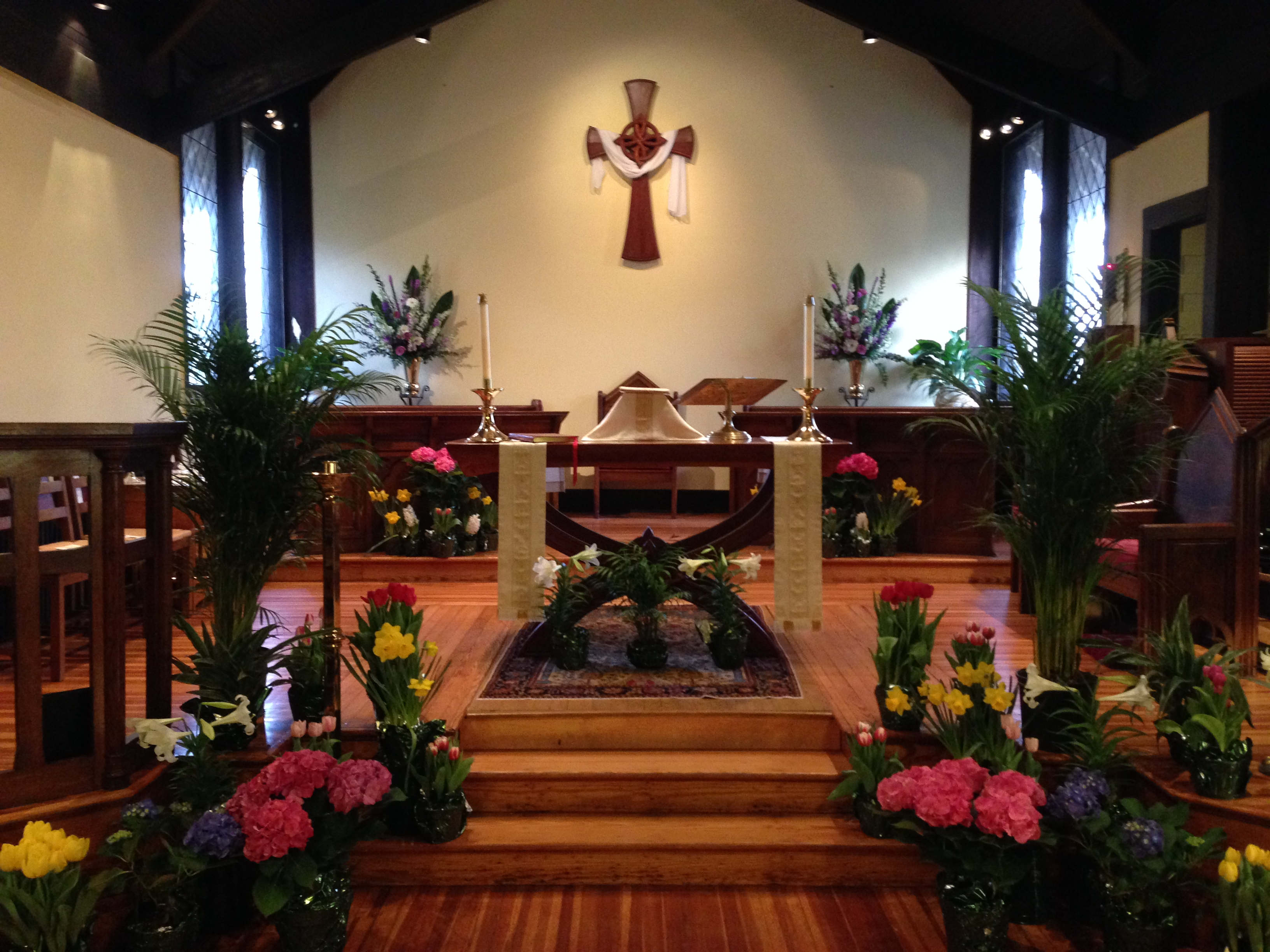 Altar decorated for Easter